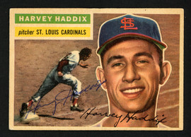 Harvey Haddix Autographed 1956 Topps Card #77 St. Louis Cardinals SKU #154369