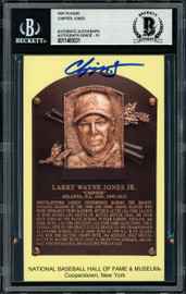 Chipper Jones Autographed HOF Plaque Postcard Atlanta Braves Gem Mint 10 Beckett BAS Stock #154934