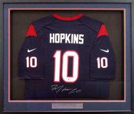 Houston Texans DeAndre Hopkins Autographed Framed Blue Nike Jersey Size XL Beckett BAS Stock #154940