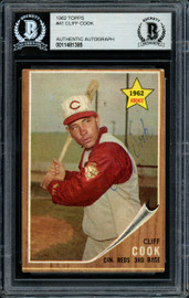 Cliff Cook Autographed 1962 Topps Rookie Card #41 Cincinnati Reds Beckett BAS #11481385