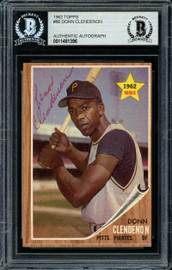 Donn Clendenon Autographed 1962 Topps Rookie Card #86 Pittsburgh Pirates Beckett BAS #11481396