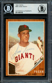 Jose Pagan Autographed 1962 Topps High Number Card #565 San Francisco Giants Beckett BAS #11481576