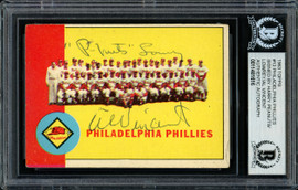 "Harry ""Peanuts"" Lowrey & Al Vincent Autographed 1963 Topps Card #13 Philadelphia Phillies Coaches Beckett BAS #11481616"