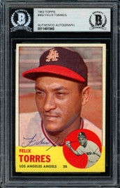 Felix Torres Autographed 1963 Topps Card #482 Los Angeles Angels Beckett BAS #11481940