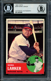 Norm Larker Autographed 1963 Topps High Number Card #536 Milwaukee Braves Beckett BAS #11481991