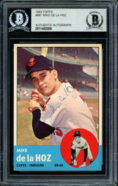 Mike de la Hoz Autographed 1963 Topps High Number Card #561 Cleveland Indians Beckett BAS #11482009