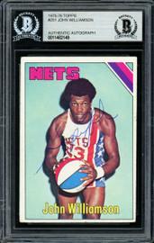 """""""Super John"""" Williamson Autographed 1975-76 Topps Card #251 New Jersey Nets Beckett BAS #11482149"""