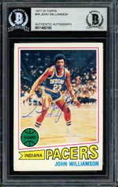 """""""Super John"""" Williamson Autographed 1977-78 Topps Card #44 New Jersey Nets Beckett BAS #11482193"""