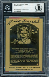 Rick Ferrell Autographed 1984 Metallic HOF Plaque Card Boston Red Sox Beckett BAS #11482597