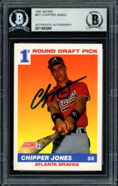 Chipper Jones Autographed 1991 Score Rookie Card #671 Atlanta Braves Beckett BAS Stock #155936