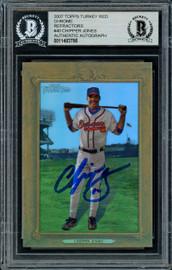 Chipper Jones Autographed 2007 Topps Turkey Red Chrome Refractor Card #40 Atlanta Braves #844/999 Beckett BAS #11483786