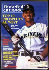 "Alex Rodriguez Autographed Baseball America Magazine Seattle Mariners ""#3"" Vintage Rookie Era Beckett BAS #Q03063"