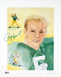 Paul Hornung Autographed 12x15 Lithograph Photo Green Bay Packers Beckett BAS Stock #156450
