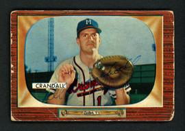 Del Crandall Autographed 1955 Bowman Card #217 Milwaukee Braves SKU #156972