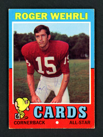 Roger Wehrli Autographed 1971 Topps Rookie Card #188 St. Louis Cardinals SKU #157071