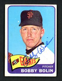 Bobby Bolin Autographed 1965 Topps Card #341 San Francisco Giants SKU #157122
