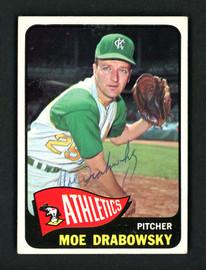 Moe Drabowsky Autographed 1965 Topps Card #439 Kansas City A's SKU #157131