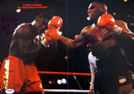 Mike Tyson & Frank Bruno Autographed 11x15.5 Magazine Poster Photo Vintage PSA/DNA #T19783