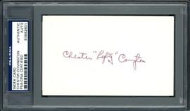"""Chester Chet """"Lefty"""" Covington Autographed 3x5 Index Card Philadelphia Phillies PSA/DNA #83862801"""