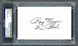 """Ray Meyer Autographed 3x5 Index Card DePaul Blue Demons Coach """"DePaul"""" PSA/DNA #83721063"""