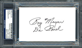 """Ray Meyer Autographed 3x5 Index Card DePaul Blue Demons Coach """"DePaul"""" PSA/DNA #83721064"""