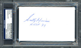 "Scotty Morrison Autographed 3x5 Index Card NHL Referee & President ""HHOF '99"" PSA/DNA #83721092"