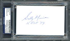 "Scotty Morrison Autographed 3x5 Index Card NHL Referee & President ""HHOF '99"" PSA/DNA #83721093"