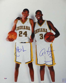 Al Harrington & Jonathan Bender Autographed 16x20 Photo Indiana Pacers PSA/DNA #S76726