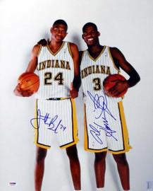 Al Harrington & Jonathan Bender Autographed 16x20 Photo Indiana Pacers PSA/DNA #S76730