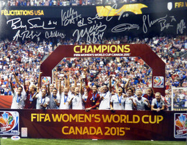 2015 Women's World Cup Championship Autographed 16x20 Photo With 10 Signatures Including Carli Lloyd & Hope Solo PSA/DNA #AB05253