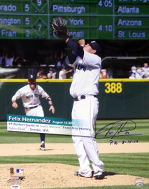 "Felix Hernandez Autographed 16x20 Photo Seattle Mariners ""P.G. 8-15-12"" Perfect Game PSA/DNA #4A59949"