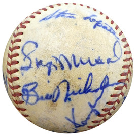 1950 St. Louis Cardinals & Philadelphia Phillies Autographed Official Baseball With 19 Total Signatures Including Stan Musial & Enos Slaughter Beckett BAS #A52636