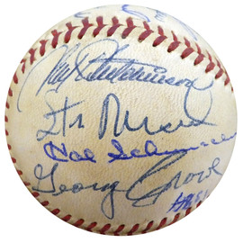 1960 St. Louis Cardinals, Pittsburgh Pirates & Cincinnati Reds Autographed Official Baseball With 28 Total Signatures Including Stan Musial & Bob Gibson Beckett BAS #A52637