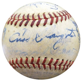 1947 St. Louis Cardinals Autographed Official Baseball With 27 Total Signatures Including Enos Slaughter Beckett BAS #A52646
