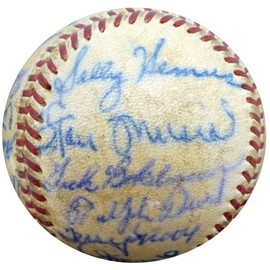 1952 St. Louis Cardinals Autographed Official Baseball With 27 Total Signatures Including Stan Musial & Enos Slaughter Beckett BAS #A52627