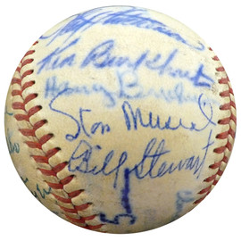 1950 Spring Training Autographed Official NL Baseball With 24 Total Signatures Including Stan Musial & Enos Slaughter Beckett BAS #A52657