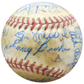 1950 Spring Training Autographed Official Baseball With 27 Total Signatures Including Stan Musial & Mel Allen Beckett BAS #A52629