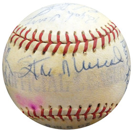 1956 Spring Training Autographed Official League Baseball With 27 Total Signatures Including Stan Musial & Fred Hutchinson Beckett BAS #A52661