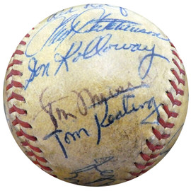 1950 St. Louis Cardinals, Boston Red Sox & Detroit Tigers Autographed Official Baseball With 23 Total Signatures Including Stan Musial & Enos Slaughter Beckett BAS #A52624