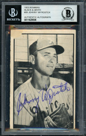 Johnny Wyrostek Autographed 1953 Bowman B&W Card #35 Philadelphia Phillies Beckett BAS #11628506