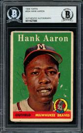 Hank Aaron Autographed 1958 Topps Card #30 Milwaukee Braves Beckett BAS #11627888