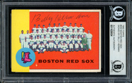Billy Herman Autographed 1963 Topps Card #202 Boston Red Sox Beckett BAS #11628534