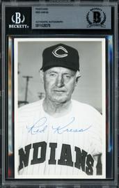 Red Kress Autographed 3.5x5.5 Postcard Cleveland Indians Died 1962 Beckett BAS #11628378