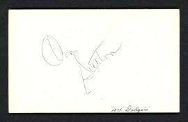 Don Sutton Autographed 3x5 Index Card Los Angeles Dodgers SKU #158262