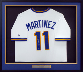 Seattle Mariners Edgar Martinez Autographed Framed White Majestic Cool Base Cooperstown Throwback Jersey MCS Holo Stock #158291