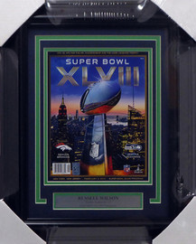 Russell Wilson Autographed Framed Seattle Seahawks Super Bowl XLVIII Program RW Holo Stock #158297