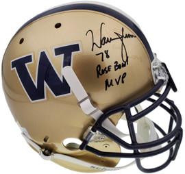 "Warren Moon Autographed Washington Huskies Full Size Schutt Gold Authentic Helmet ""78 Rose Bowl MVP"" (Removal) MCS Holo Stock #158306"