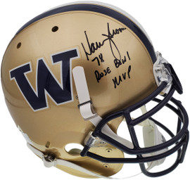 "Warren Moon Autographed Washington Huskies Full Size Schutt Gold Authentic Helmet ""78 Rose Bowl MVP"" MCS Holo Stock #158307"