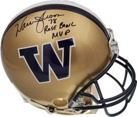 "Warren Moon Autographed Washington Huskies Full Size Riddell Gold Authentic Helmet ""78 Rose Bowl MVP"" MCS Holo Stock #158308"