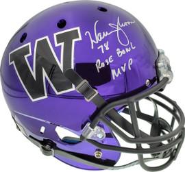 "Warren Moon Autographed Washington Huskies Full Size Schutt Replica Purple Chrome Helmet ""78 Rose Bowl MVP"" MCS Holo Stock #158313"